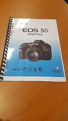 Canon Eos 5D Full User Manual Guide Instructions Printed 180 Pages A5