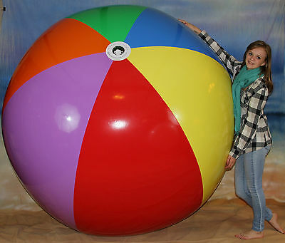 "GIANT 108"" Inflatable 7 Color Beach Ball `HEAVY DUTY` Huge Prop, Fun Pool Toy"