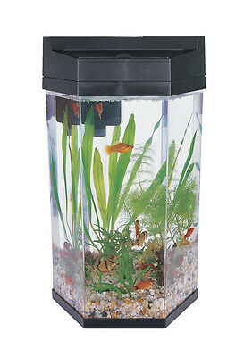 Fish R Fun 7L MODERN HEXAGONAL AQUARIUM TANK KIT (BLACK) filter and light