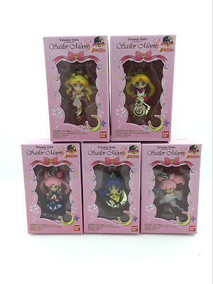 5x Sailor Moon Tsukino Usagi Sailor Chibi LUNA CAT Figure pendant chain in Box