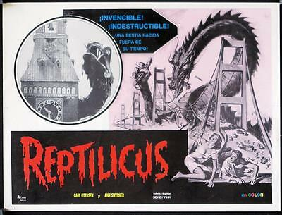 L907 REPTILICUS Mexican movie lobby card R70s giant lizard, sci-fi!