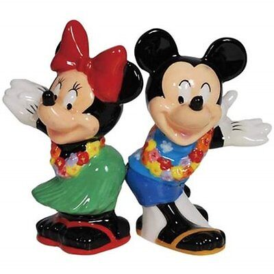 Disney's Mickey & Minnie Mouse Hula Time Ceramic Salt and Pepper Shakers SEALED