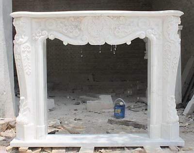 Hand Carved White Marble Fireplace Mantel, French Design