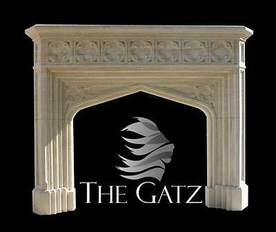 Lovely Gothic Inspired Marble Fireplace Mantel in Sandstone