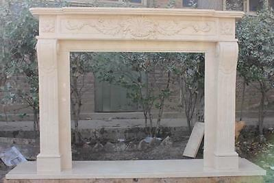 Hand Carved Marble Fireplace Mantel,  Floral Relief Carvings, Simple Design