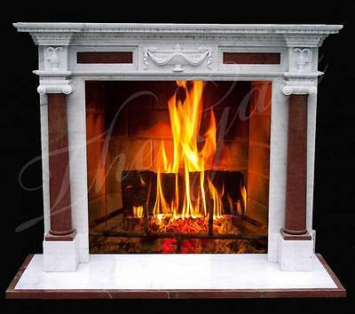 Classic Colonial Style Hand Carved Marble Fireplace Mantel, w/Columns & Capitals