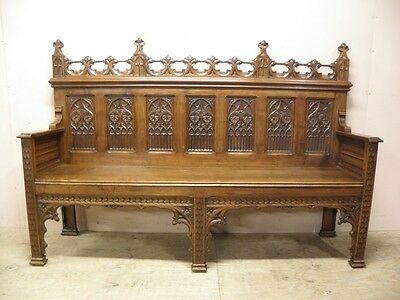Antique French Gothic Bench, Special Model, Walnut, 19th Century
