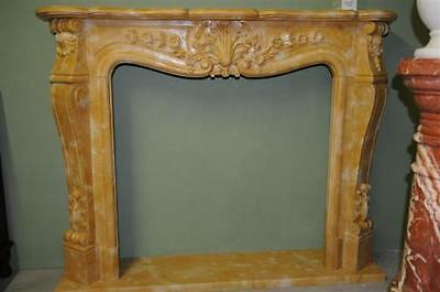 Hand Carved Marble Fireplace Mantel, French Design in Henan Yellow