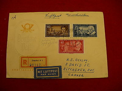 First Day Cover German post FDC 1955 cancel registered air mail #P212