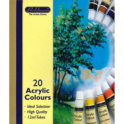 Boldmere - Quality Acrylic Colours Paint Set - 20 x 12ml Tubes, Art & Craft, New
