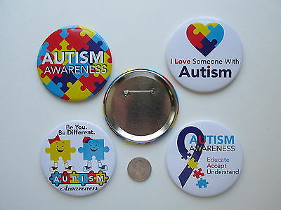 """12 Large AUTISM AWARENESS PINS 3"""" button pins FREE SH buttons pin party favors"""