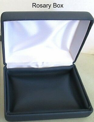 BLUE Leatherette Rosary CASE rosaries box ~ NEW