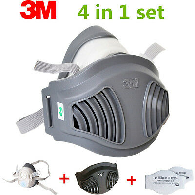 For 3M 1211 Gas mask 4 piece Set Half Face Spray Painting Protection Respirator