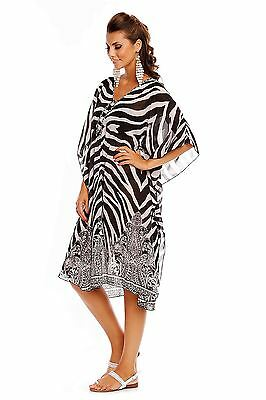Ladies Zebra Light Beach Summer Throw Tunic Kimono Sheer Kaftan Top - 10 - 18