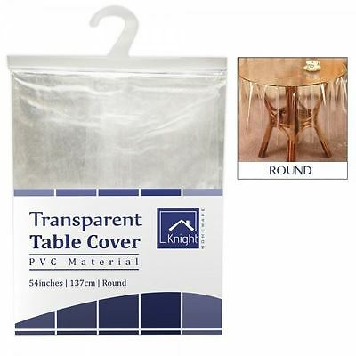 "Quality Vinyl PVC 54"" Round Tablecloth Cover Wipe Clean Protector Transparent"