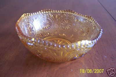 "Vintage 1960's Brockway Glass Harvest Gold Amber 5"" Bowl Beaded Edge Starburst"
