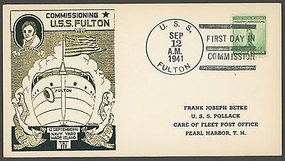 USS Fulton AS-11 Commissioned Sept 12, 1941 - Raised Print Cachet Card