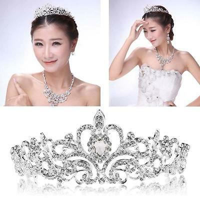 Exquisite Wedding Tiara Brides Crown Rhinestone Silver Headband Pageant Party HY