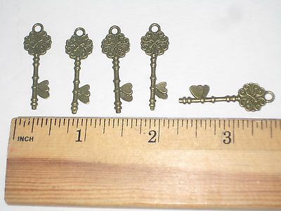 """Lot of Five 1.25"""" Key Pendants Charms with Antique Bronze Finish"""