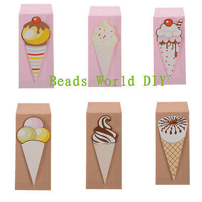 1 Set(6 Pcs) Ice Cream Greeting Card With Small Envelope Birthday Christmas Card