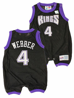 NBA Infant Sacramento Kings Chris Webber #4 Retro Romper, Black