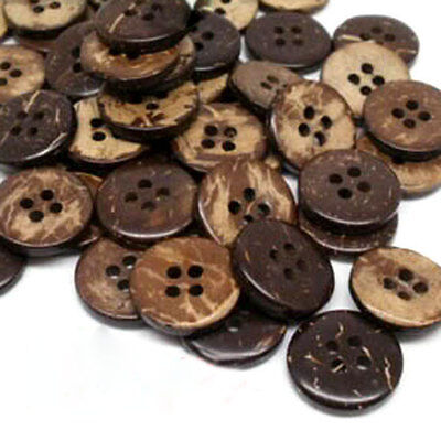 100Pcs Brown Coconut Shell 4 Holes Sewing Buttons Scrapbooking 15mm Knopf Bouton