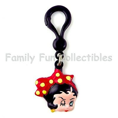 BETTY BOOP~1990 KFS Clip On Charm Pendant~Key Chain Bag Toy Doll Face Figure~NOS