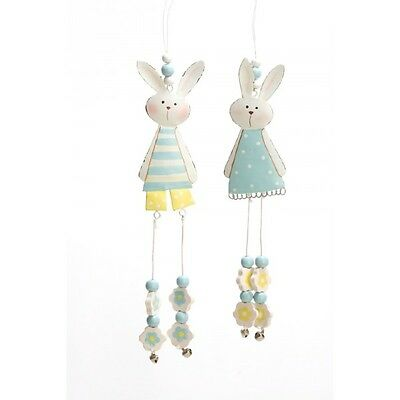 Easter Bunny Hanging Decoration Boy Or Girl Metal Rabbit Flower Blue & White