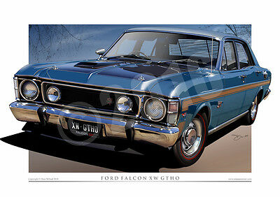 Ford XW GT Falcon - Classic 1970 XW GTHO Ford Car Drawings ( 9 Colours )