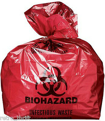 """Biohazard Bags Red Infectious Liner 20"""" X 13"""" X 39"""" 100/Case 1.35 mil 33 Gallon"""
