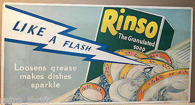 """Rinso Granulated Dish Soap Vintage Cardboard Advertising Sign 21"""" x 11"""""""