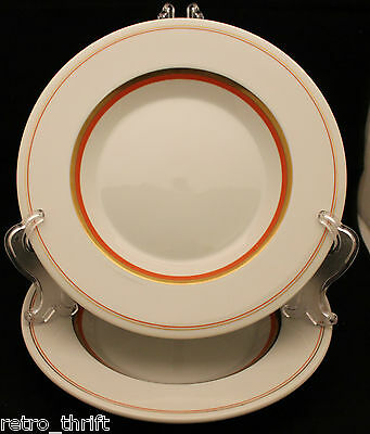 Set of 2 Royal Copenhagen White Gold Orange Rimmed Bowls 25cm  Denmark AS-IS (A)