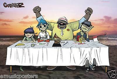 """GORILLAZ """"GROUP SITTING AT TABLE ON THE BEACH"""" POSTER FROM ASIA - Damon Albarn"""