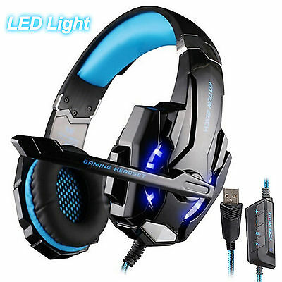 Gaming G9000 USB 7.1 Surround Sound Version Blue Headphone Headset for PC Laptop