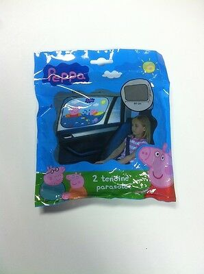 Peppa Kid Child 2 Tendine Safety Car Colour  Sun Shades Blinds Suction Cup Fited