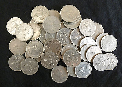 Bulk Lot Of 40 Clean Large Size Decimal 5p Coins For Slot Machines etc