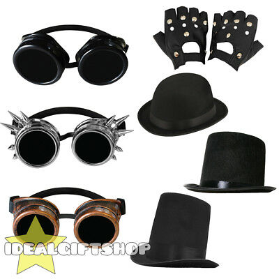 Cyber Steampunk Goggles Hat Gloves Set Gothic Fancy Dress Vintage Retro Cosplay
