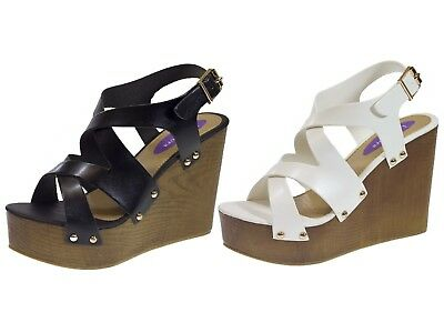 Womens Stacked Platform Wedge Summer Sandals Crossover Wedges High Heels Size