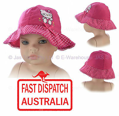 Baby Toddler Girl  Sun Hat Cute Kitty Cat Bucket Pink Bow Cotton Thin and Floppy