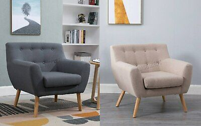 FoxHunter Linen Fabric 1 Single Seat Sofa Tub Arm chair Dining Room SSSF-03 New