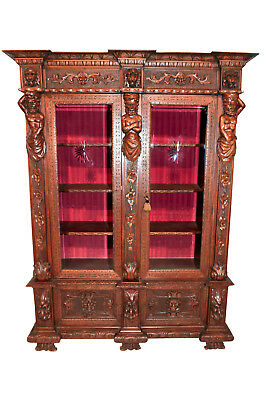IMPRESSIVE Antique Italian Renaissance Silver Cabinet Bookcase Display Furniture