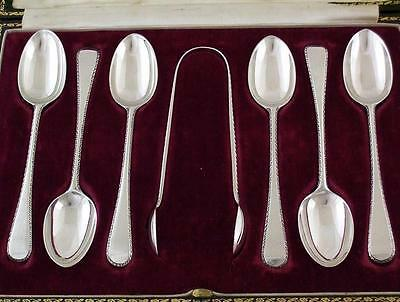 Antique Sterling Silver Tea Spoons & Sugar Tong Set by Goldsmiths of London 1919