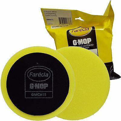 "Farecla G Mop GMC612 2 x 6"" 150mm Wet Use Yellow Compounding HookNLoop Foam Pad"