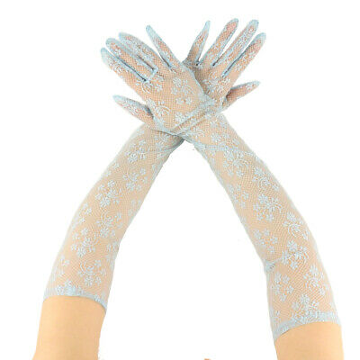 """Sexy Floral Sheer Lace Tea Party Vintage Style Opera 22"""" Long Dressy Gloves"""