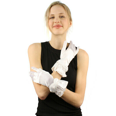 Elegant Satin Glossy Pleated Flair Long Wrist Dressy Evening  Party Gloves