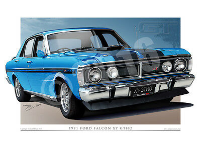 Ford XY GT Falcon Print - Classic XY GTHO Phase 3 CAR DRAWING ( 17 COLOURS )