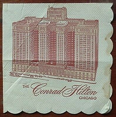 1963 Conrad Hilton Hotel (Chicago) Cocktail Napkin
