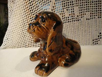 BRUSH McCoy DARK BROWN & BLACK unmarked LOVABLE 1950's PUPPY PLANTER exc.