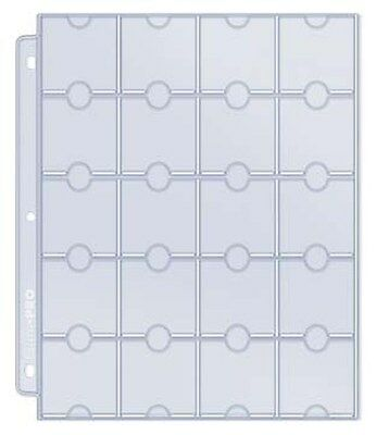 """10 Ultra Pro 20-Pocket Hologram Coin Pages 2 """"x 2"""" with Thumb Cuts"""