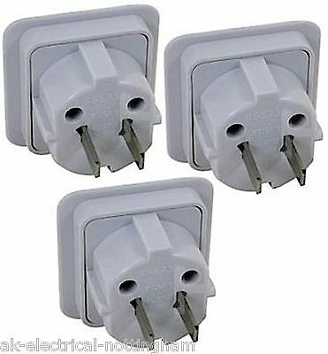 Travel Adaptor x 3 Convert UK to 2 PIN for Cuba Peru Belize Brazil South America